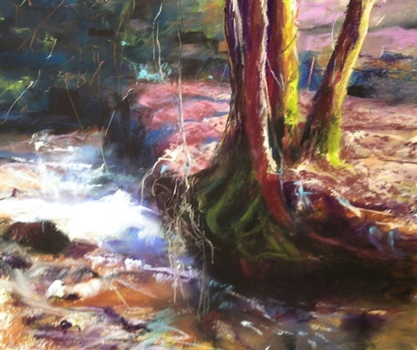 Camille Day, Earth and Water, pastel, 9 x 12.