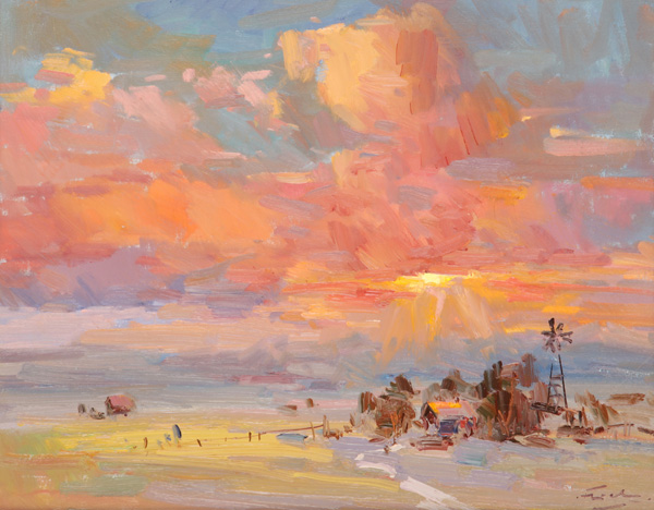 Guido Frick, Homestead on the Plains, oil, 16 x 20.