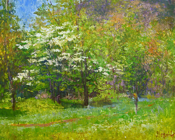 Julia Lesnichy, Spring Blossoms, oil, 16 x 20.