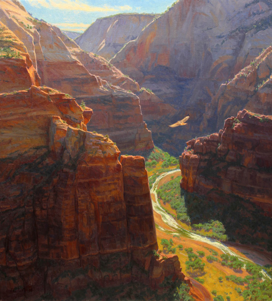 Charles Muench   Soaring, oil, 40 x 36.