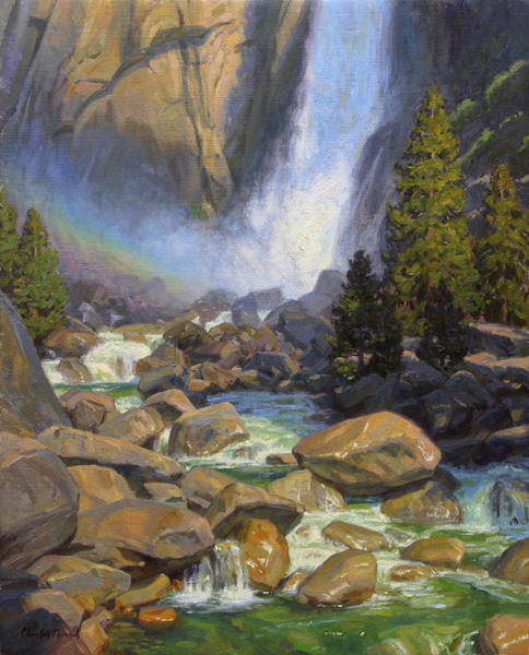 Charles Muench | Yosemite Falls, oil, 30 x 24.