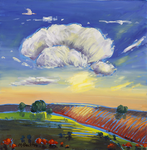 Mary Bechtol, Plowed Field at Dusk, oil, 16 x 16.