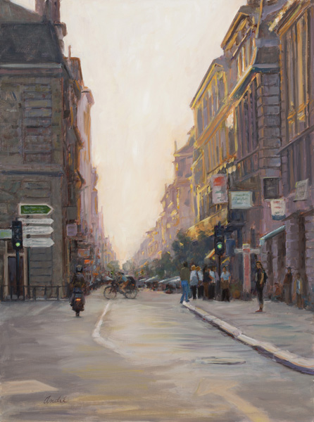 Patti Andre, City at Twilight, oil, 24 x 18.