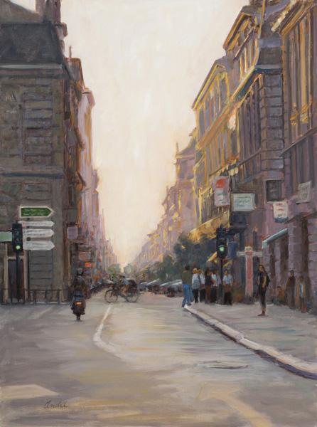Patti Andre, City at Twilight, oil, 24 x 18.