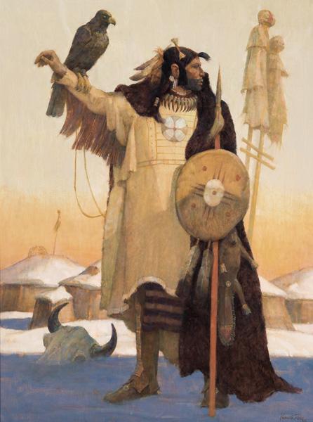 Kenneth Riley, The Warriors, oil, 40 x 30. Estimate: $80,000-120,000.