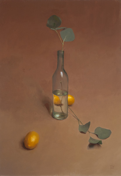 Sarah Freeman | Bottle and Lemons, oil, 20 x 24.