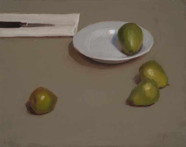 Sarah Freeman | Still Life With Pears, oil, 16 x 20.