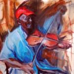 Patricia Sorg, Caribbean Fiddler, oil, 18 x 24.