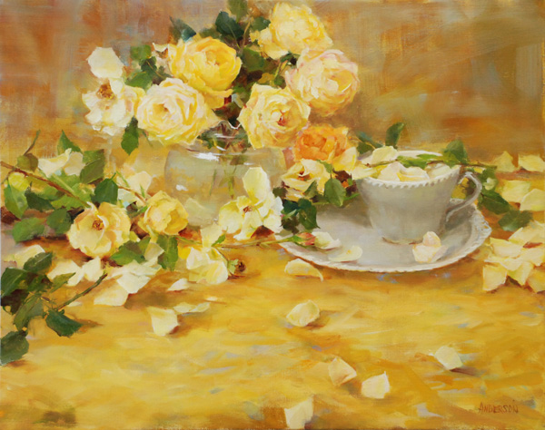 Kathy Anderson | Yellow Roses and Grey, oil, 16 x 20.