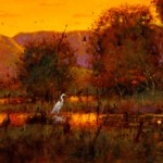 Tom Perkinson, White Egrets at Sunset, Bosque del Apache, oil, 12 x 32.