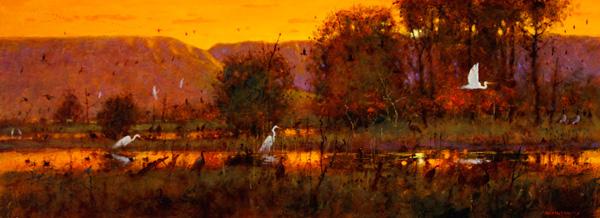 Tom Perkinson, White Egrets at Sunset, Bosque del Apache, oil, 12 x 32.