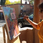 Artists working along Canyon Road at last year's Paint Out and Sculpt Out.