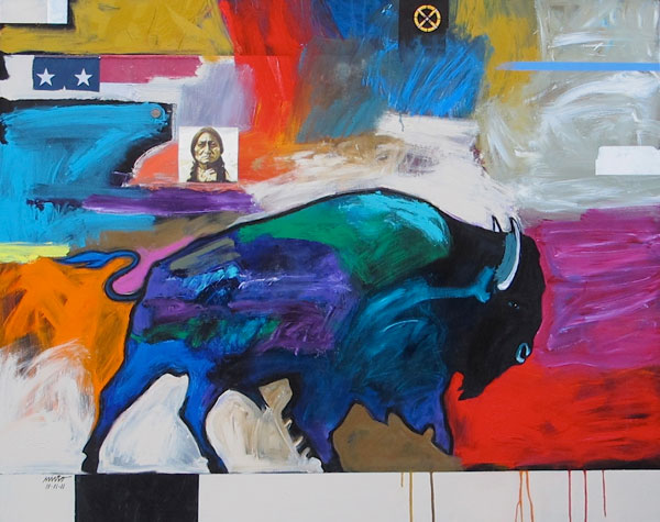 21st Century Buffalo, mixed media, 48 x 60.