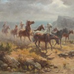 Olaf Wieghorst, Wrangling the Ponies, oil, 33 x 39. Estimate: $15,000-$25,000.