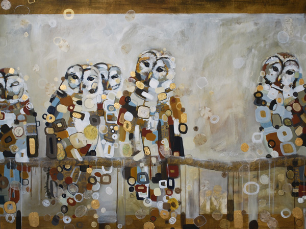 Britt Freda, 5 Owls Indivisible, acrylic/mixed media, 30 x 40.