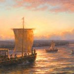 Todd A. Williams, Lewis and Clark Expedition, 1804, Otoe County, oil, 15 x 30.