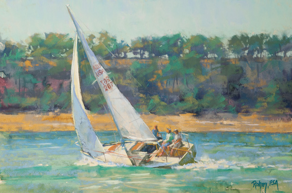 Robert Rohm, A Good Wind, pastel, 12 x 18.