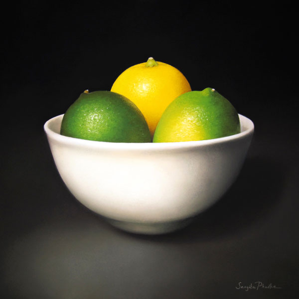 A Lemon & Two Limes, pastel, 16 x 16.