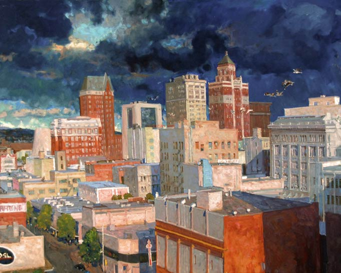 Aleksander Titovets, Downtown, oil, 48 x 60.