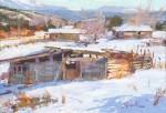 Walt Gonske, Ojo Sarco in Winter, oil, 11 x 16.