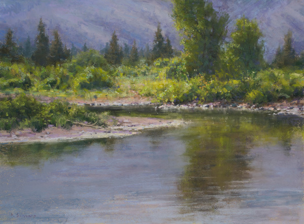 Aaron Schuerr, Summer Sparkle, pastel, 18 x 24.
