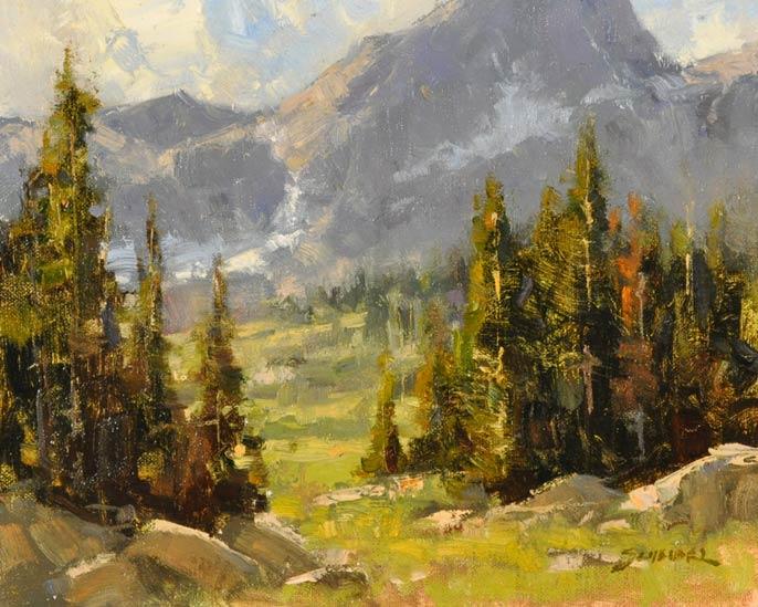 Greg Scheibel, Above Mirror Lake, oil, 8 x 10.