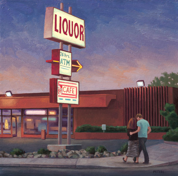 Adams Avenue Liquor, oil, 12 x 12.