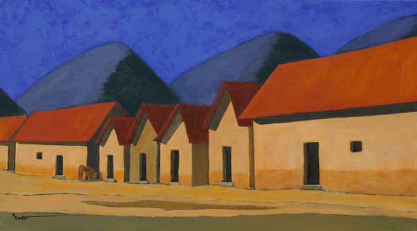 Robert Burt, Adobes in the Sierra Madre, acrylic, 18 x 32.