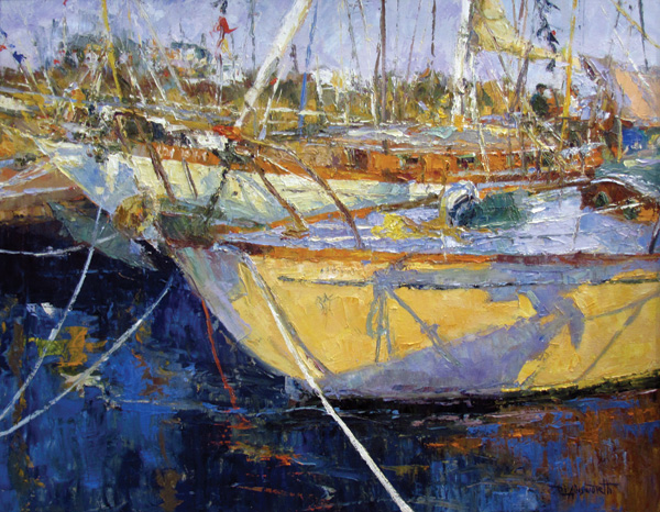 Diane Ainsworth, Wooden Boat Shadows, oil, 24 x 30.