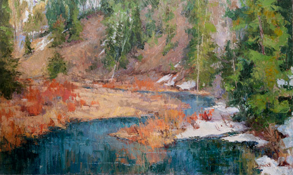 Diane Ainsworth, Spring Thaw, oil, 36 x 72.