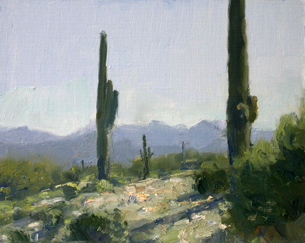 Along the Gila, oil, 8 x 10.