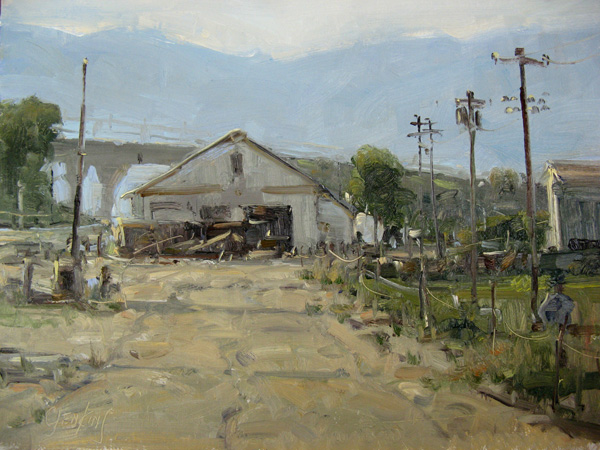 Carol Jenkins, Along the Tracks, oil, 12 x 16.