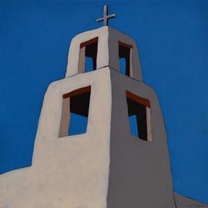 Alvin Gill-Tapia, Santa Maria Bell Tower, acrylic, 20 x 20.