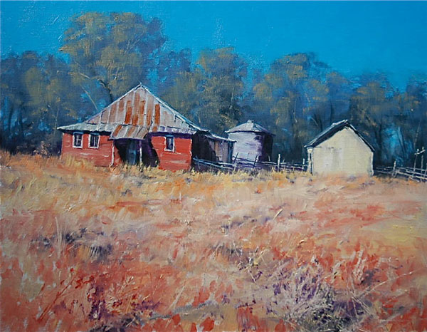 Michael Ome Untiedt, Americana, Red, White, and Blue; These Colors Don't Run, oil, 16 x 20.