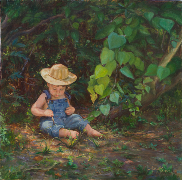 Amy Karnes, 5,6 Pick up Sticks, oil, 30 x 30.