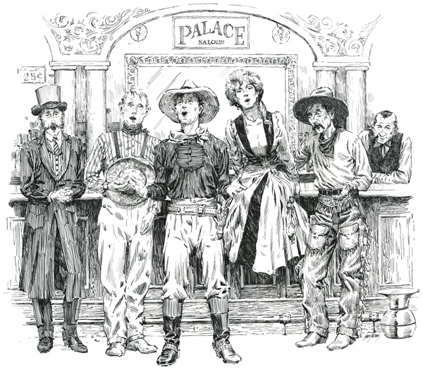 Andy Thomas, Palace Saloon Glee Club, pen/ink, 17 x 20.