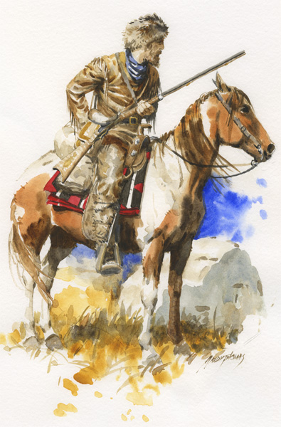Andy Thomas, The Mountain Man, Watercolor 14 x 11.