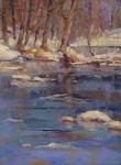 Ann Larsen, Winter on the Battenkill, oil, 16 x 12.