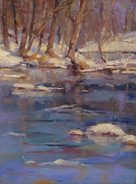 Ann Larsen, Winter on the Battenkill, oil, 16 x 12.