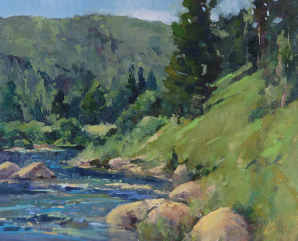 Ann Larsen, Cedar River Flow, oil, 16 x 20.
