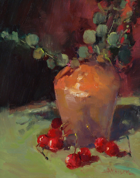 Ann Larsen, Eucalyptus and Cherries, oil, 10 x 8.