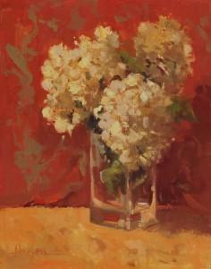 Ann Larsen, Hydrangeas, oil, 14 x 11.