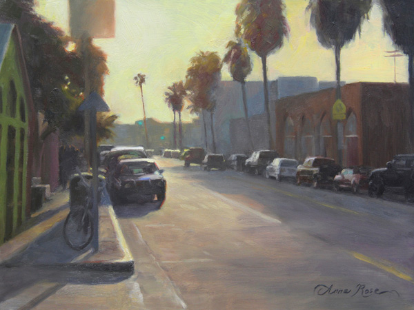 Anna Rose Bain, Abbott Kinney Sunset, oil, 9 x 12.