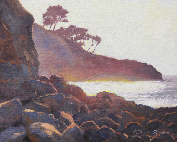 Anna Rose Bain, La Jolla Light, oil, 8 x 10.