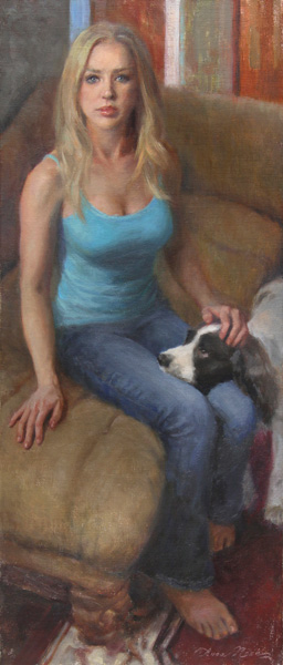 Anna Rose Bain, To Paint or to Play (Self Portrait with Bella), oil, 28 x 12.