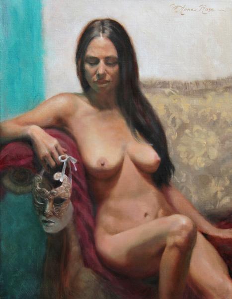 Anna Rose Bain, Unmasked, oil, 18 x 14.