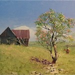 Michael Ome Untiedt, Apple Tree with an Old Man on Horseback; Once Both Knew Her Name, oil, 12 x 16.