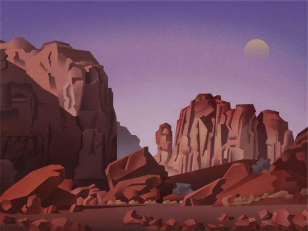 David Jonason, Arches Moonscape, oil, 22 x 28.