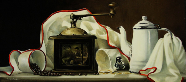 Arleta Pech, Coffee Makers, oil, 14 x 30.