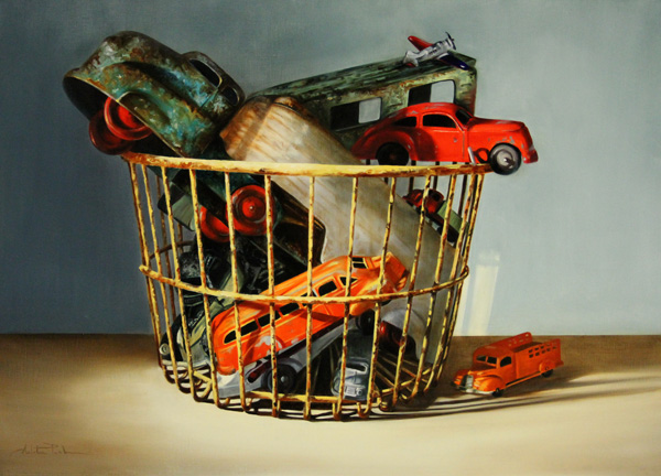 Arleta Pech, Collected Toys, oil, 21 x 29.